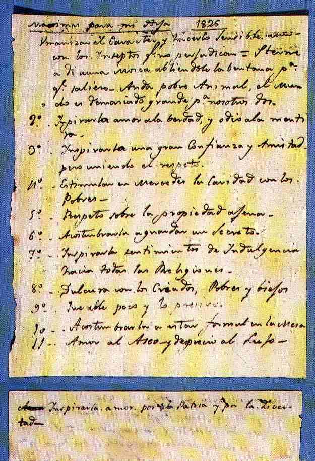 Máximas, manuscrito